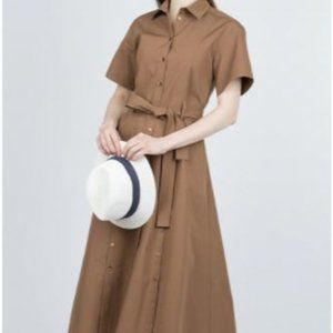 Eleventy Button Down Belted Shirt Dress